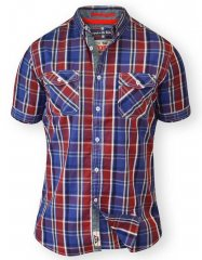 D555 ELIAS Short Sleeve Blue & Red Check Shirt