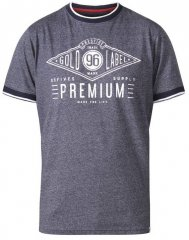D555 Alister Premium Chest Printed Ringer T-Shirt Navy