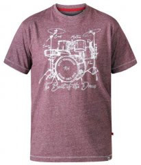 D555 Blunt Drum Set Crew Neck Printed T-Shirt Burgundy