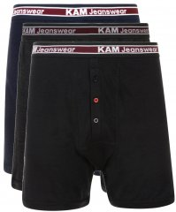 Kam Jeans Boxershorts Black, Grey, Navy 3-Pack