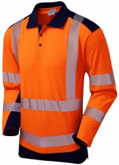 Leo Wringcliff Coolviz Plus L/S Polo Hi-Vis Orange/Navy