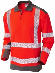 Leo Wringcliff Coolviz Plus L/S Polo Hi-Vis Red/Grey