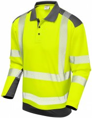 Leo Wringcliff Coolviz Plus L/S Polo Hi-Vis Yellow/Grey