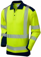 Leo Wringcliff Coolviz Plus L/S Polo Hi-Vis Yellow/Navy