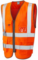 Leo Cobbaton Coolviz Superior Waistcoat Hi-Vis Orange