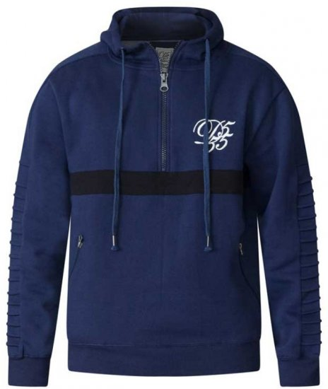 D555 Sergio Half Zip Hoodie Navy - Sweaters & Hoodies - Sweatshirts & Hoodies - 2XL-8XL