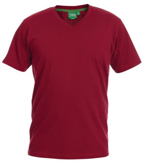 D555 Signature V-neck T-shirt Red - T-shirts - T-shirts in big sizes - 2XL-8XL