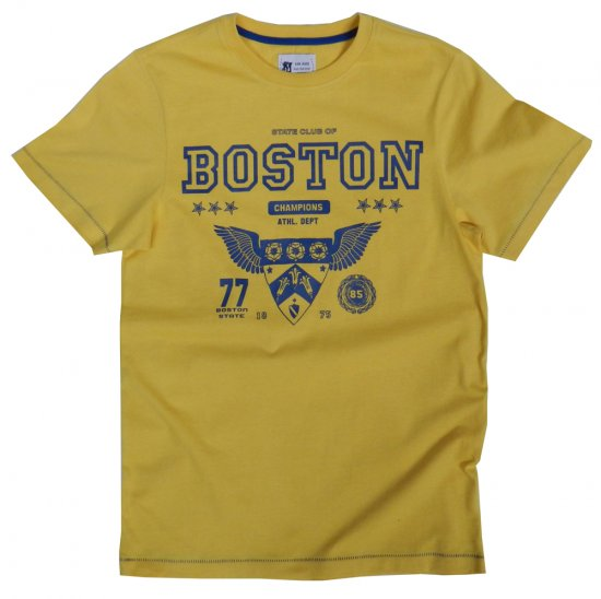 Kam Jeans Boston Tee Yellow - T-shirts - T-shirts in big sizes - 2XL-8XL