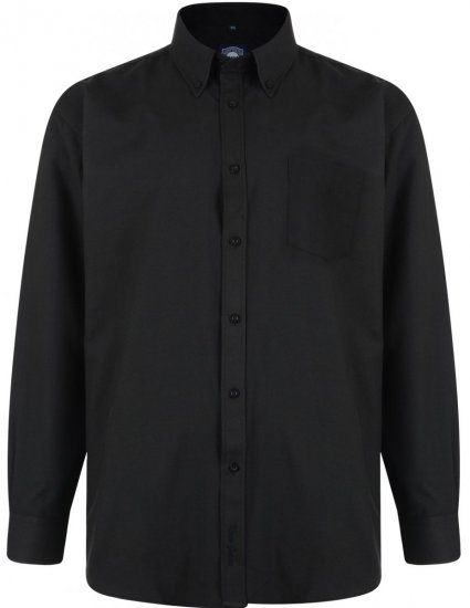 Kam Oxford shirt Long Sleeve Black - Shirts - Shirts - 2XL-8XL