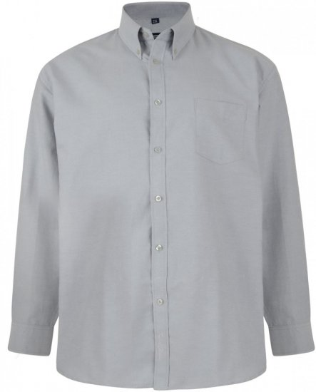 Kam Oxford shirt Long Sleeve Grey - Shirts - Shirts - 2XL-8XL