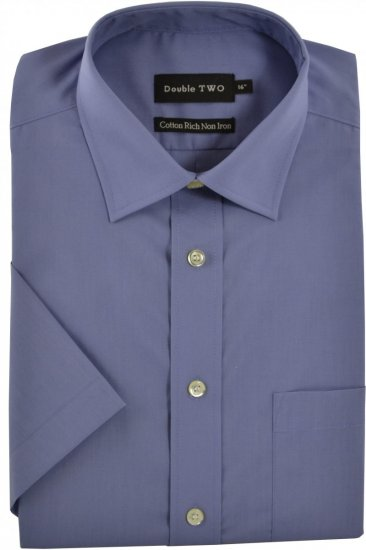 Double TWO Non-Iron Poplin Short Sleeve Violet - Shirts - Shirts - 2XL-8XL