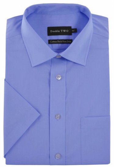 Double TWO Non-Iron Poplin Short Sleeve Blue - Shirts - Shirts - 2XL-8XL