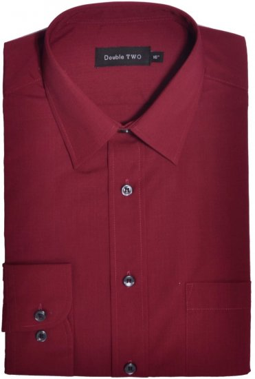 Double TWO Classic Easy Care Long Sleeve Burgundy - Shirts - Shirts - 2XL-8XL