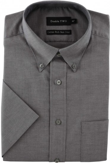 Double TWO Non-Iron Oxford Short Sleeve Grey - Shirts - Shirts - 2XL-8XL