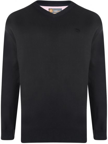 Kam Jeans V-neck Knitted Sweater Black - Sweaters & Hoodies - Sweatshirts & Hoodies - 2XL-8XL