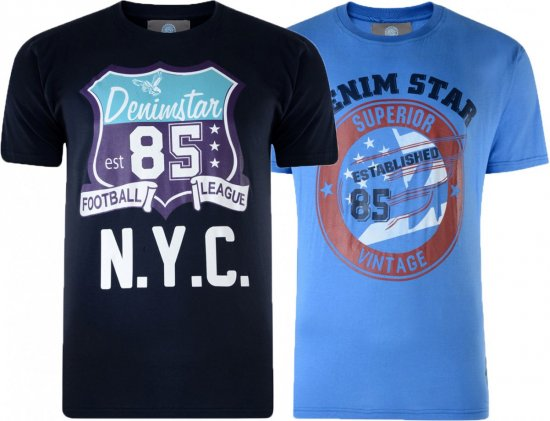 Kam Jeans Star 2-pack T-shirt Navy/Denim - T-shirts - T-shirts in big sizes - 2XL-8XL
