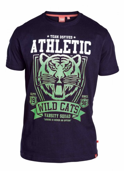 "D555 STACY ""Wild Cats"" T-Shirt Navy - T-shirts - T-shirts in big sizes - 2XL-8XL"