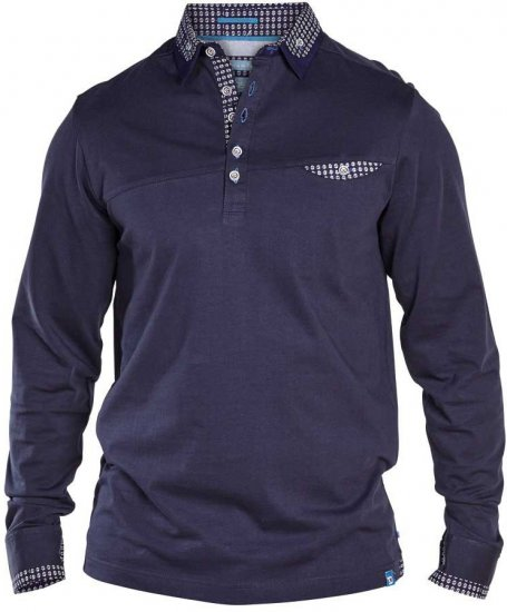 D555 REMUS Long Sleeve Polo Shirt Navy - Polo shirts - Polo shirts -2XL-8XL