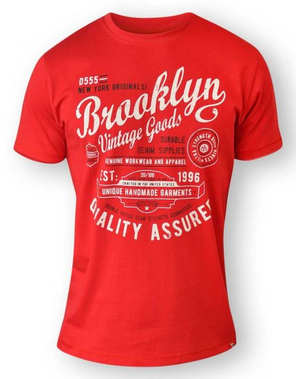D555 NEAL Brooklyn Crew Neck T-Shirt Red - T-shirts - T-shirts in big sizes - 2XL-8XL
