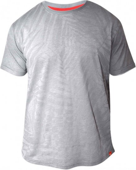 D555 ADAM Allover Leaf Print T-Shirt Grey - T-shirts - T-shirts in big sizes - 2XL-8XL