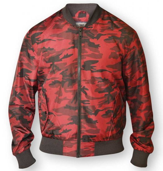 D555 CAMO Lined Camouflage Bomber Jacket Red - Jackets & Rainwear - Jackets - 2XL-8XL