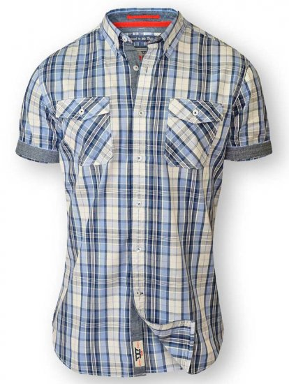 D555 FIDEL Twin Pocket Short Sleeve Blue & Ecru Check Shirt - Shirts - Shirts - 2XL-8XL