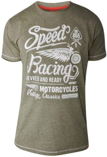 D555 CORTEZ Speed Racing T-Shirt Khaki - T-shirts - T-shirts in big sizes - 2XL-8XL