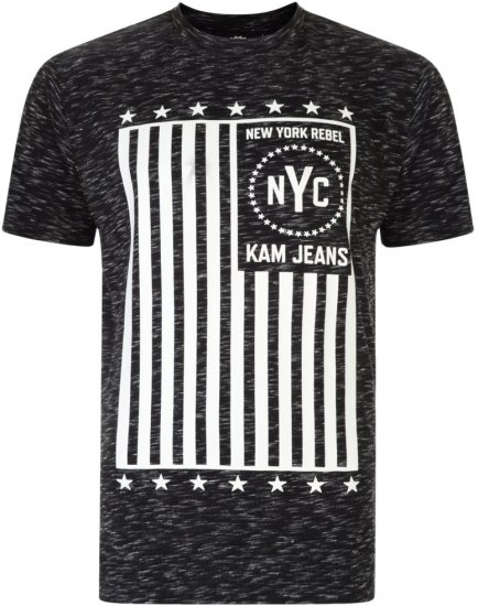 Kam Jeans NY Rebel Tee -Black Edition - T-shirts - T-shirts in big sizes - 2XL-8XL