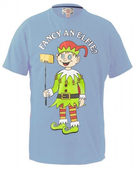 D555 Fancy an Elfie T-shirt Blue - T-shirts - T-shirts in big sizes - 2XL-8XL