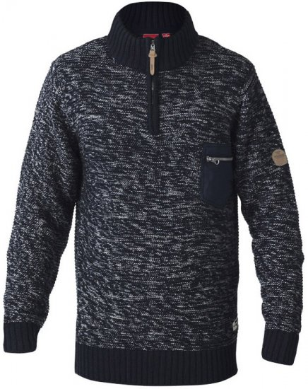 D555 REMINGTON Sweater With Woven Zipper Chest Pocket Navy/Grey - Sweaters & Hoodies - Sweatshirts & Hoodies - 2XL-8XL