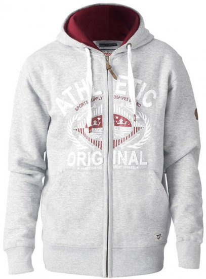 D555 Gabriel Athletic Zip Hoodie Grey - Sweaters & Hoodies - Sweatshirts & Hoodies - 2XL-8XL