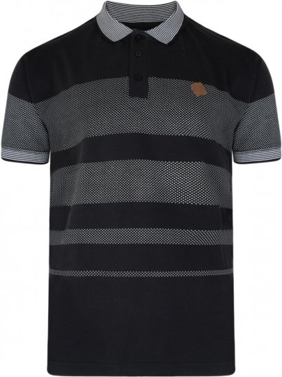 Kam Jeans 5222 Stripe and Dot Polo Black - Polo shirts - Polo shirts -2XL-8XL