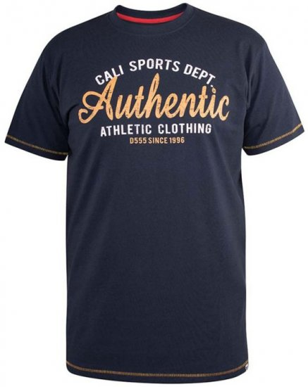 D555 Jasper Authentic Printed T-shirt Navy - T-shirts - T-shirts in big sizes - 2XL-8XL
