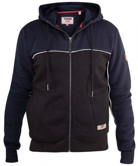 D555 Vincent Full Zip Hoody With Chest And Sleeve Piping Detail - Sweaters & Hoodies - Sweatshirts & Hoodies - 2XL-8XL