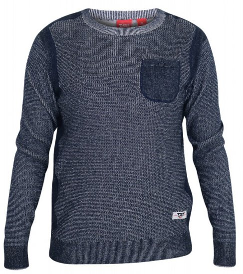 D555 Bryson Crewneck Sweater with Pocket Navy - Sweaters & Hoodies - Sweatshirts & Hoodies - 2XL-8XL