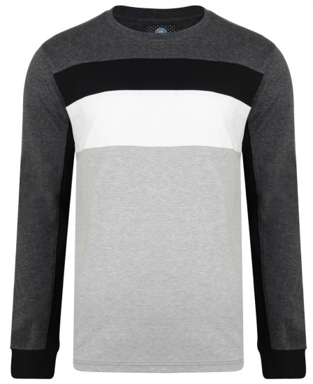 Kam Jeans 5240 Cut and Sew Long Sleeve T-shirt Grey - T-shirts - T-shirts in big sizes - 2XL-8XL