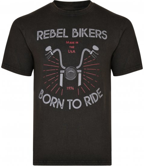 Kam Jeans 5319 Rebel Bikers T-shirt Black - T-shirts - T-shirts in big sizes - 2XL-8XL