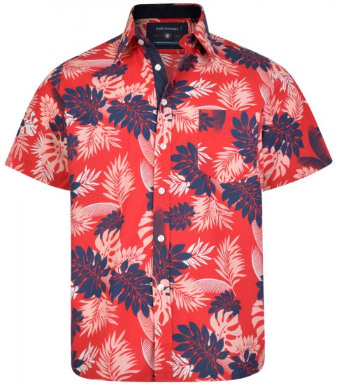 Kam Jeans 6166 Hawaii Shirt Red - Shirts - Shirts - 2XL-8XL