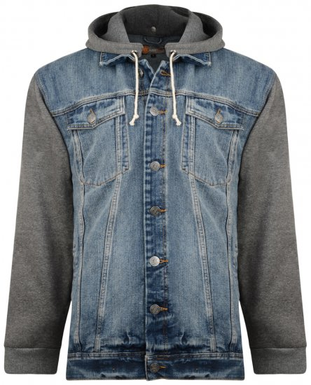 Kam Jeans Miguel Denim Jacket with Jersey Sleeves - Jackets & Rainwear - Jackets - 2XL-8XL