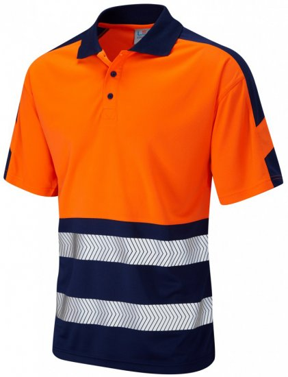 Leo Watersmeet Coolviz Plus Polo Hi-Vis Orange/Navy - Workwear - Workwear, rain- and skiclothes - 3XL-10XL